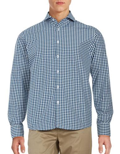 Black Brown 1826 Gingham Sport Shirt-BLUE-X-Large