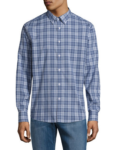Black Brown 1826 Plaid Poplin Shirt-BLUE-Large