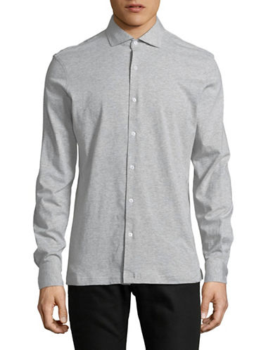 Black Brown 1826 Heather Jersey Knit Sport Shirt-GREY-Medium