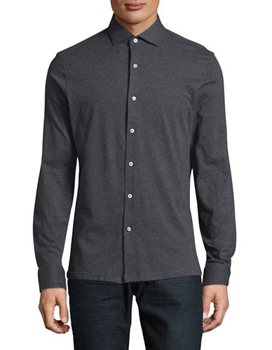 Black Brown 1826 Heather Jersey Knit Sport Shirt-CHARCOAL-Medium