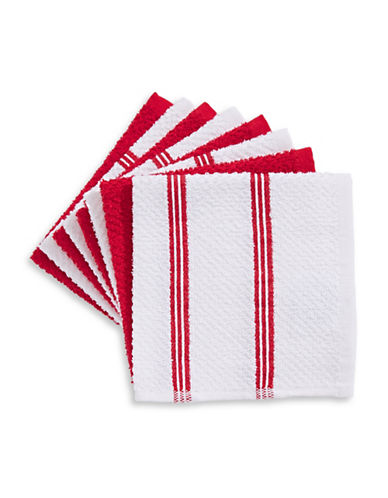 Essential Needs Eight-Set Dish Cloths-RED-One Size