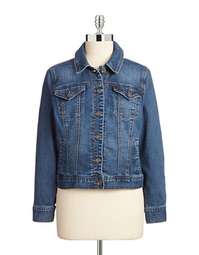 Style And Co. Petite Basic Denim Jacket-BLUE-Petite X-Small