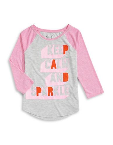 Jessica Simpson Judah Sparkle Graphic Tee-PINK-Large 88055234_PINK_Large
