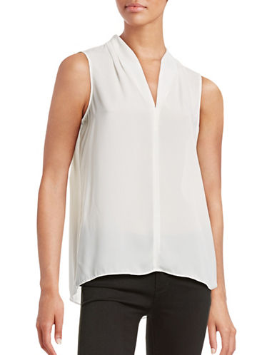 T Tahari Edie Sleeveless Blouse-WHITE-Small