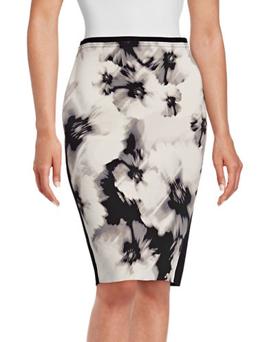 T Tahari Kristina Printed Scuba Skirt-WHITE/BLACK-16