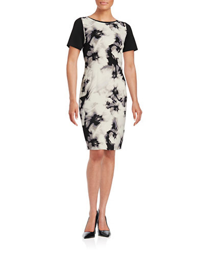 T Tahari Dakota Floral Block Scuba Dress-WHITE-8