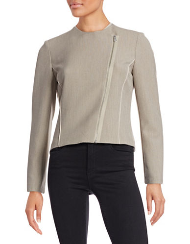 T Tahari Cambria Asymmetrical Zip Jacket-BEIGE-Medium 88252852_BEIGE_Medium