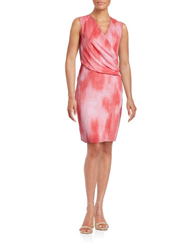 T Tahari Seraphina Printed Surplice Dress-PINK-Small