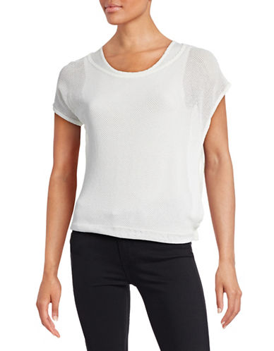 T Tahari Tamia Mesh-Layer Poncho Top-WHITE-Large