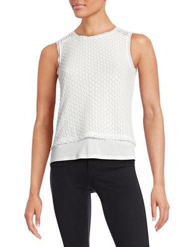 T Tahari Elm Knit Crochet Tank-WHITE-Large 88252866_WHITE_Large
