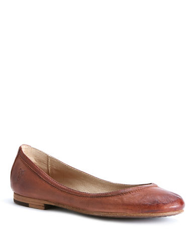 Frye Carson Leather Ballet Flats-BROWN-5.5