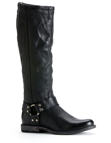 Frye Phillip Harness Tall Boot-BLACK-7.5