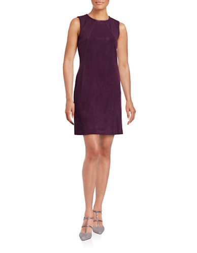 Calvin Klein Faux Suede Shift Dress-AUBERGINE-4