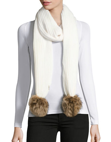 Calvin Klein Ribbed Scarf with Faux Fur Pom Poms-CREAM-One Size