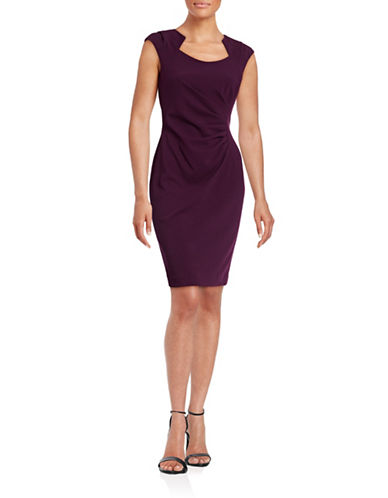 Calvin Klein Ruched Horseshoe Neck Sheath-AUBERGINE-10