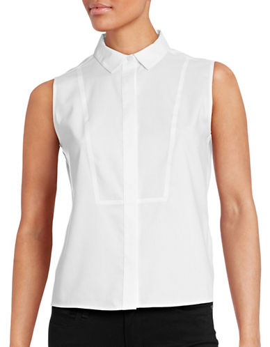Calvin Klein Sleeveless Defined Bib Blouse-WHITE-12