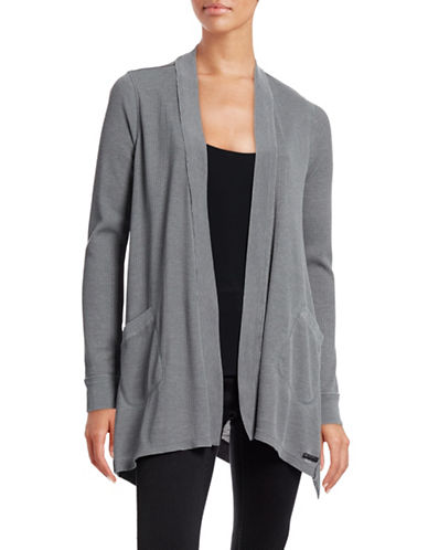 Calvin Klein Performance Washed Waffle-Knit Cardigan-GREY-X-Small 88509087_GREY_X-Small