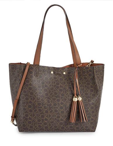 Calvin Klein Reversible Tote Monogram Bag-BROWN-One Size