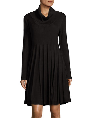Calvin Klein Ribbed Cowl Neck Dress-BLACK-Medium 88689589_BLACK_Medium