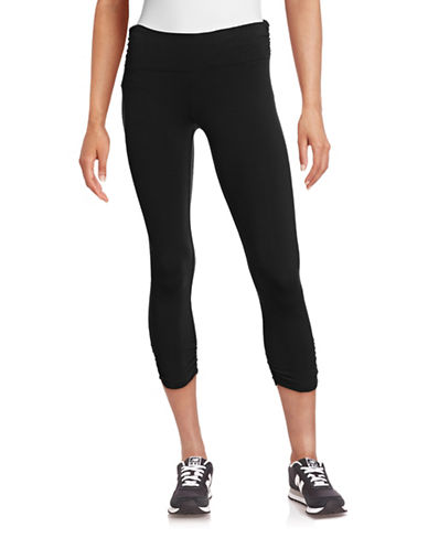 Calvin Klein Performance Shirred Crop Leggings-BLACK-X-Large