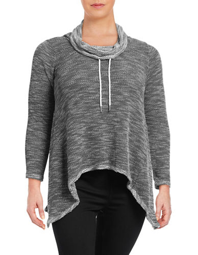 Calvin Klein Performance Plus Cowl Neck Sharkbite Top-BLACK-1X 88632237_BLACK_1X