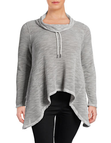 Calvin Klein Performance Plus Cowl Neck Sharkbite Top-GREY-1X 88632240_GREY_1X