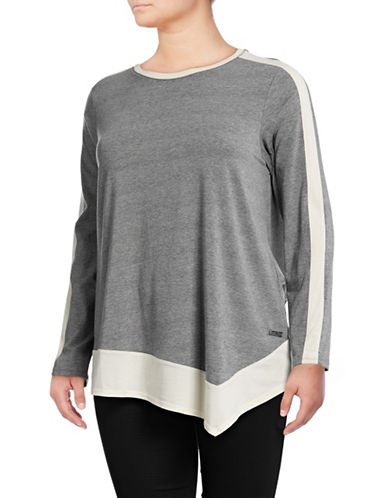 Calvin Klein Performance Plus Colourblocked Long-Sleeved Top-GREY-3X 88737828_GREY_3X