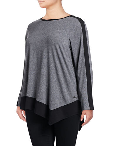 Calvin Klein Performance Plus Colourblocked Long-Sleeved Top-BLACK-1X 88737823_BLACK_1X