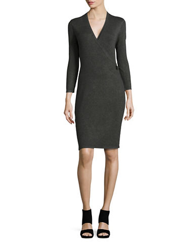 Calvin Klein Buckled Faux Wrap Sweater Dress-CHARCOAL-Small 88623139_CHARCOAL_Small