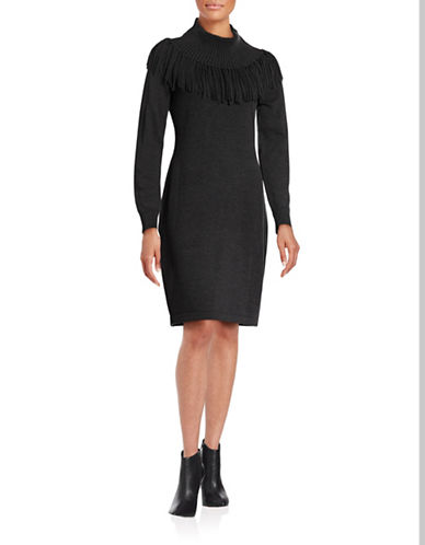 Calvin Klein Fringed Cowl Neck Sweater Dress-CHARCOAL-X-Large 88689551_CHARCOAL_X-Large