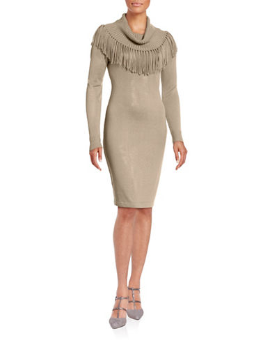 Calvin Klein Fringed Cowl Neck Sweater Dress-KHAKI-X-Large 88689555_KHAKI_X-Large