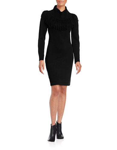 Calvin Klein Fringed Cowl Neck Sweater Dress-BLACK-Large 88689546_BLACK_Large