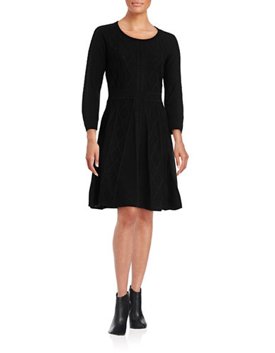Calvin Klein Fit-and-Flare Sweater Dress-BLACK-Large 88689534_BLACK_Large