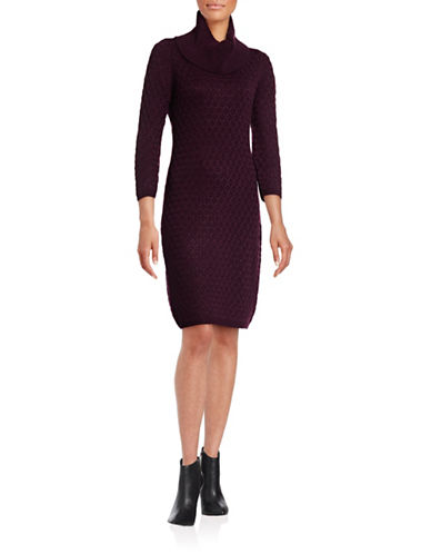Calvin Klein Honeycomb Cowl Neck Dress-AUBERGINE-Medium 88689573_AUBERGINE_Medium