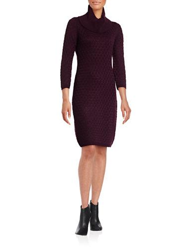 Calvin Klein Honeycomb Cowl Neck Dress-AUBERGINE-X-Large 88689575_AUBERGINE_X-Large