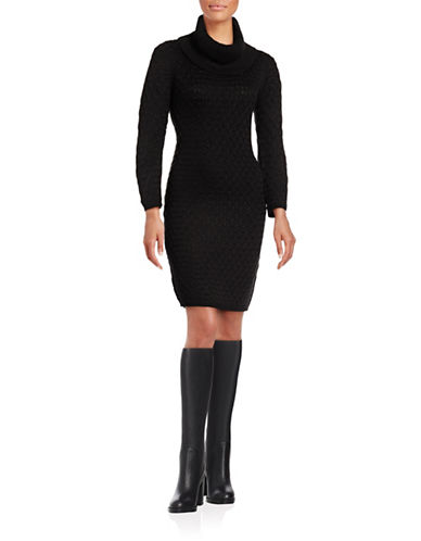 Calvin Klein Honeycomb Cowl Neck Dress-BLACK-Small 88689564_BLACK_Small