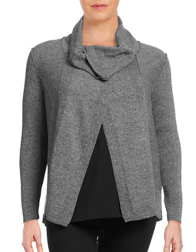 Calvin Klein Performance Plus Asymmetric Funnel Neck Sweater-BLACK HEATHER-3X 88632254_BLACK HEATHER_3X