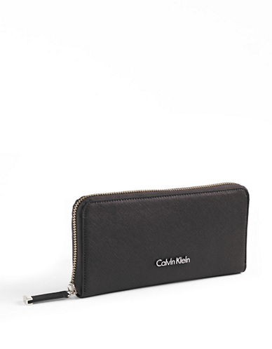 Calvin Klein Saffiano Leather Wallet-BLACK-One Size