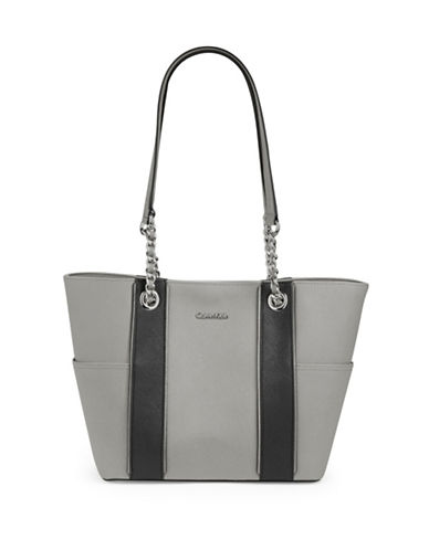 Calvin Klein Saffiano Leather Tote-SMOKE-One Size
