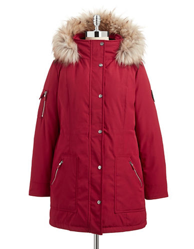 Calvin Klein The Coat Edit Faux Fur Trimmed Anorak-RED-Large 87662432_RED_Large
