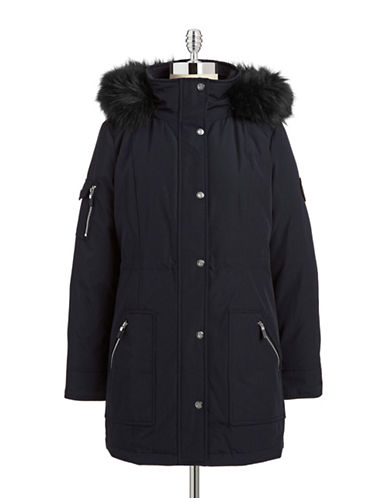 Calvin Klein The Coat Edit Faux Fur Trimmed Anorak-NAVY-Large plus size,  plus size fashion plus size appare