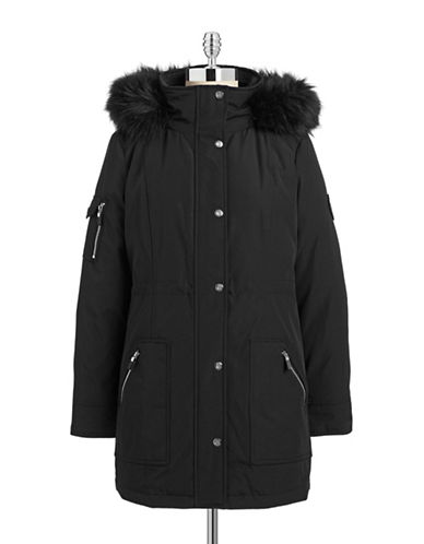 Calvin Klein The Coat Edit Faux Fur Trimmed Anorak-BLACK-X-Small