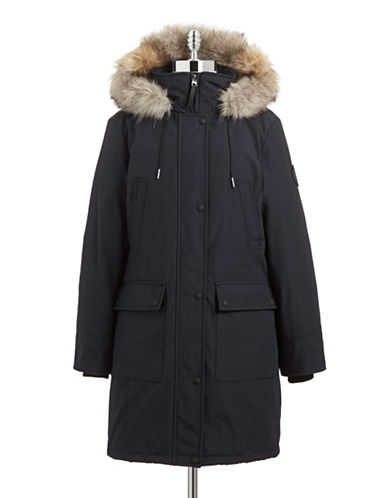 Calvin Klein Faux Fur Trim Performance Parka-NAVY-X-Small 87662449_NAVY_X-Small
