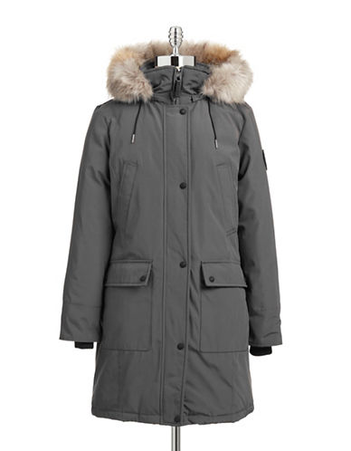 Calvin Klein The Coat Edit Faux Fur Trim Performance Parka-GREY-Medium 87662446_GREY_Medium