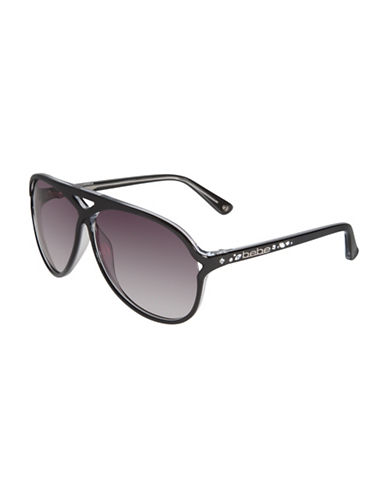 Bebe 60mm Crisscross Jewel Aviator Sunglasses-BLACK CRYSTAL-One Size