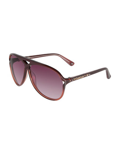 Bebe 60mm Crisscross Jewel Aviator Sunglasses-BURGUNDY-One Size