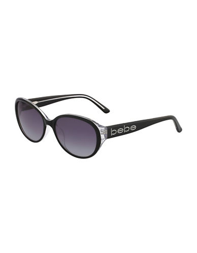 Bebe 56mm Oval Logo Sunglasses-JET-One Size