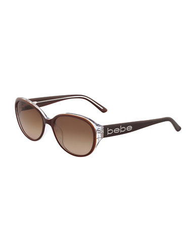Bebe 56mm Oval Logo Sunglasses-TOPAZ-One Size