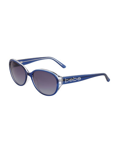 Bebe 56mm Oval Logo Sunglasses-NAVY-One Size