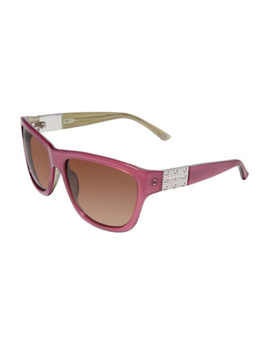 Bebe 57mm Square Embossed Logo Sunglasses-BLUSH-One Size